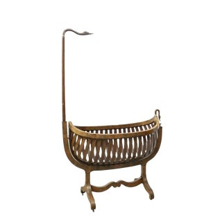 19th Century French Empire Flame Mahogany Swan Rocking Cradle For Sale