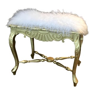Mongolian Lamb Upholstered Bench