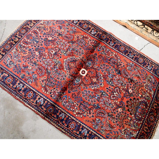 Textile 1920s, Handmade Antique Persian Sarouk Rug 3.2' X 5.2' For Sale - Image 7 of 10