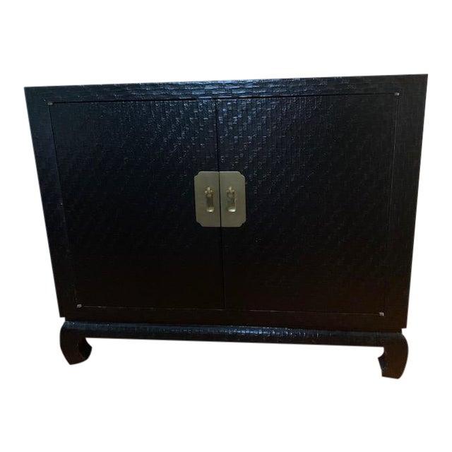 Baker Grasscloth Black Lacquered Ming Cabinet For Sale