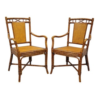 20th Century Chippendale Bamboo Rattan Cane Faux Tortoise Shell Finish Armchairs - a Pair