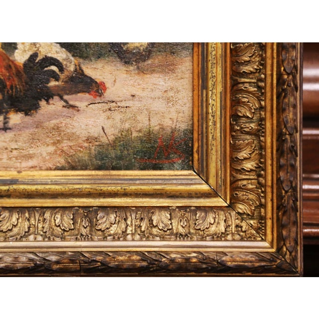 Gold Mid-19th Century French Oil on Board Chicken Painting in Carved Gilt Frame For Sale - Image 8 of 10