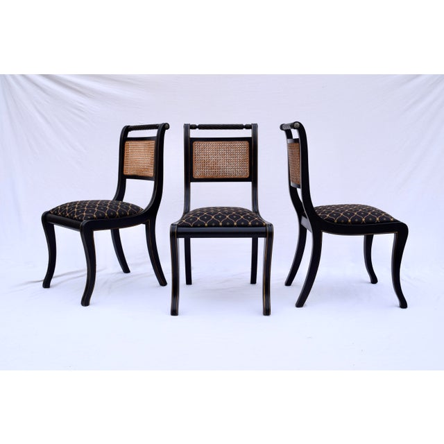 Late 20th Century Regency Double Caned Dining Chairs Made in Italy, Set of 8 For Sale - Image 5 of 13