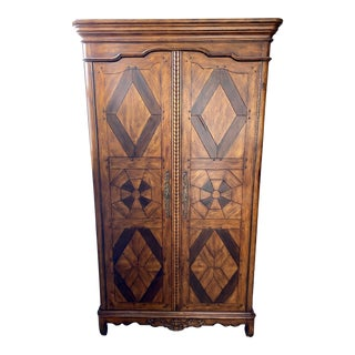 Vintage Illuminated Armoire Style Bar Cabinet For Sale