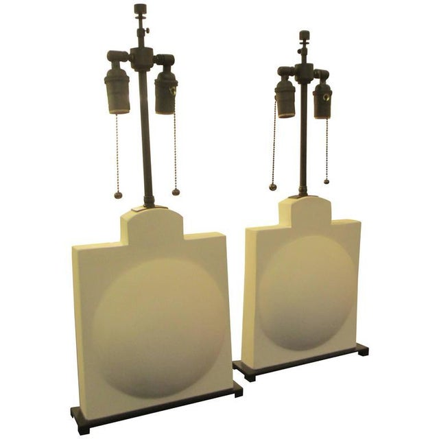 Plaster Pair of Modern Sculptural Plaster Lamps For Sale - Image 7 of 7