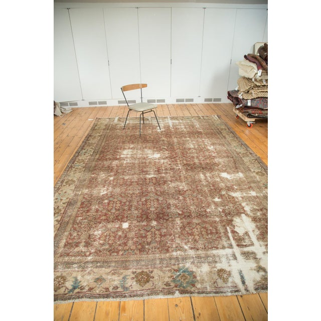 "Antique Distressed Mahal Carpet - 9' x 11'6"" For Sale - Image 4 of 10"