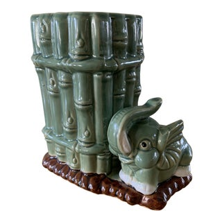 Vintage Asian Elephant & Bamboo Planter Vase For Sale