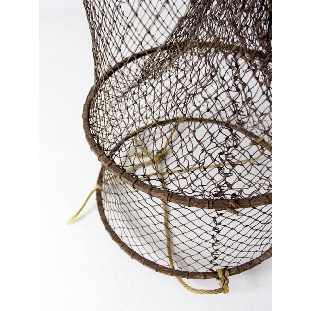 Metal Vintage Fyke Fishing Net For Sale - Image 7 of 9