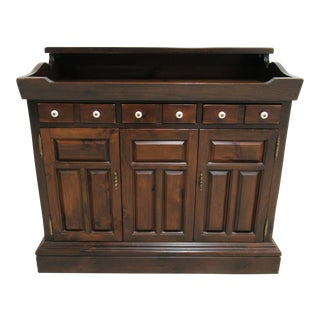 1970s Traditional Ethan Allen Old Tavern Dry Sink TV Console Cabinet For Sale