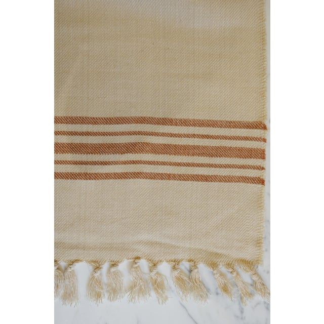 Turkish Hand Made Bed Coverlet With Natural Linen/Cotton,70x96 Inches For Sale - Image 4 of 8