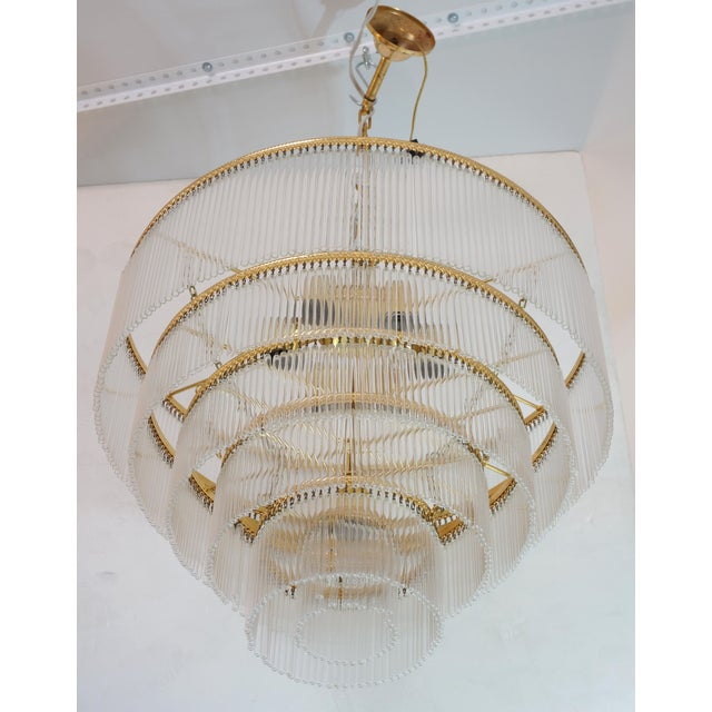 Mid-Century Scolari Murano 7-Light Tiered Glass Tubes Chandelier For Sale - Image 10 of 10