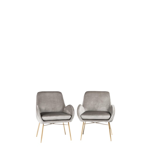 More than 1 set available. Set of 2 Gray Velvet Club Chairs with Gold legs comes with pillows Materials: Velvet, metal...