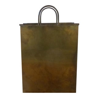 Sarreid, Ltd. Brass Shopping Bag Umbrella Stand / Magazine Holder For Sale