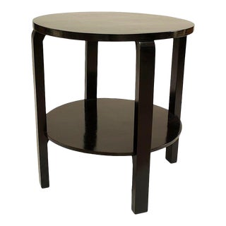 Italian Ebonized Round End Table For Sale