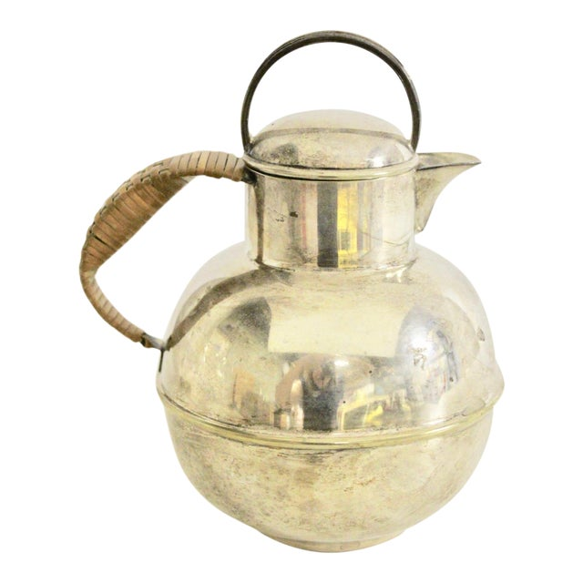 Art Deco 1920's Rattan Handle Tea Pot For Sale