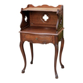 20th Century French Country Oak 2-Tier End Table Nightstand Table For Sale
