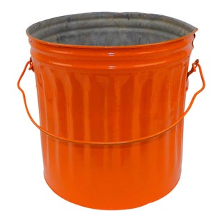 Mid-Century Modern Orange Metal Waste Bucket