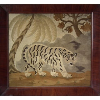 Late 19th Century Victorian Wool Work Embroidered Picture of a Tiger For Sale