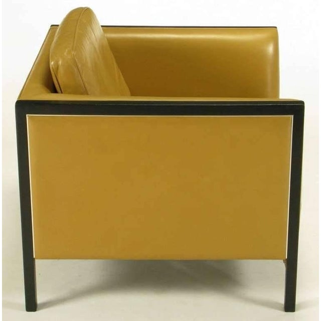 1960s Pair of Stow Davis Leather, Ebonized Wood and Aluminium Even Armchairs For Sale - Image 5 of 10