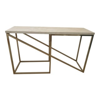 Hollywood Regency Custom Polished Brass Console Table For Sale