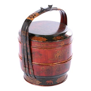 Antique Hand-Made Lacquer Chinese Covered Wedding Basket For Sale
