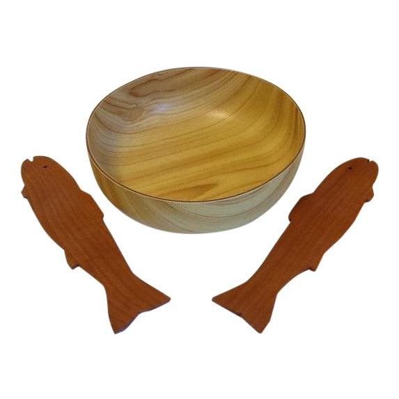 Vintage Caleppio Ware Large Serving Bowl & Wood Utensils For Sale