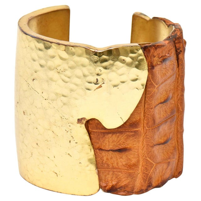 Hammered Brass and Crocodile Leather Cuff Signed Artisan Bracelet For Sale - Image 10 of 10