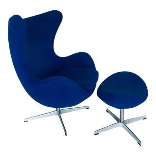 Vintage Mid-Century Arne Jacobsen for Fritz Hansen Egg Chair & Ottoman For Sale