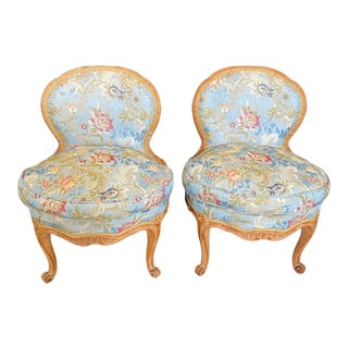 19th Century French Carved Walnut Slipper Chairs -A Pair For Sale