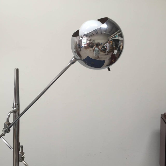 Classic double-armed chrome orbiter tripod floor lamp Inspired by Arredoluce. Excellent vintage condition, original cord...