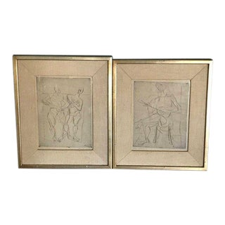 1948 Germany Abstract Figural Etchings by Eduard Bargheer For Sale