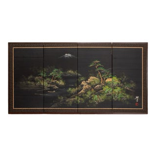 Circa 1950s Shōwa Era Japanese Landscape With Mount Fuji Silk Byobu Screen For Sale