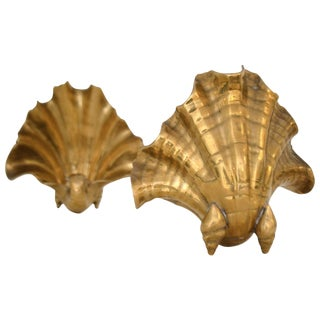 Pair of Italian Brass Shell Garniture For Sale