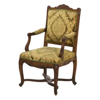 19th Century Antique French Rococo Carved Arm Chair For Sale