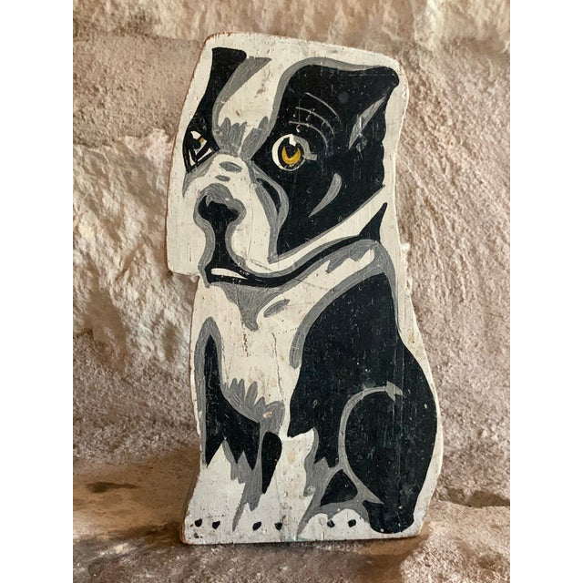 Circa 1900's Vintage Folk Art Hand Painted French Bulldog Statuette For Sale - Image 10 of 11