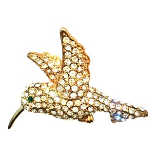 20th Century Gold & Swarovski Crystal Hummingbird Brooch For Sale