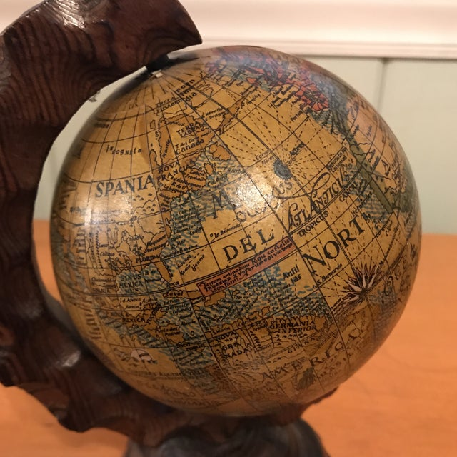 Mini Desktop Globe on Wood Axis For Sale - Image 9 of 13