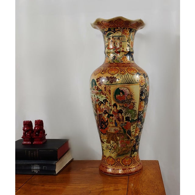 "Vintage hand painted Chinese vase for floor or table. Excellent condition. 23.25"" high 10.5"" at widest point"