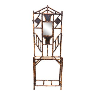 1920s Bamboo and Mirror Boho Chic Hall Tree For Sale