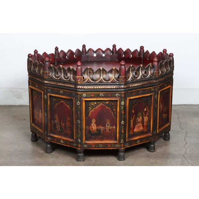 20th Century Anglo Indian Hand-Painted Teak Coffee Table For Sale - Image 10 of 10
