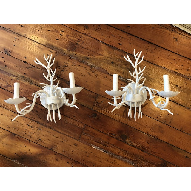 Ballard Designs White Coral Sconces - a Pair For Sale - Image 10 of 10