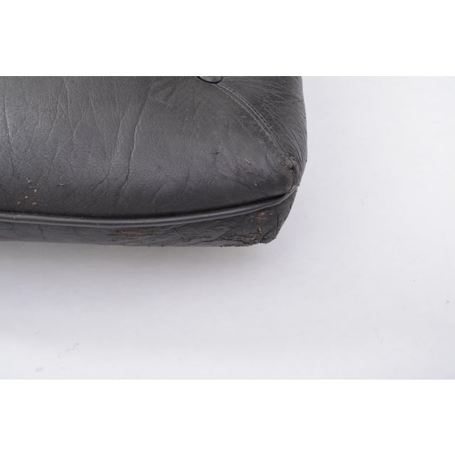 Black Vintage Leather Ottoman/ Foot Stool, Attributed to Sergio Rodrigues For Sale - Image 6 of 12