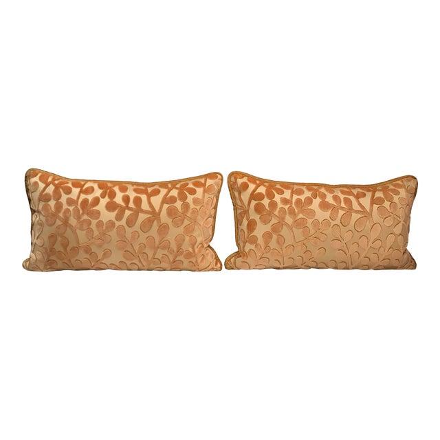 Transitional Beacon Hill Summer Sonata Shell Silk Velvet Epingle Lumbar Pillows - a Pair For Sale