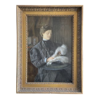 "19th Century ""Dame au Chapeau"" French Portrait Oil Painting, Framed For Sale"