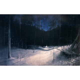 """Starry, Moonlit, Deep Winter Night"", Large Contemporary Painting by Stephen Remick For Sale"