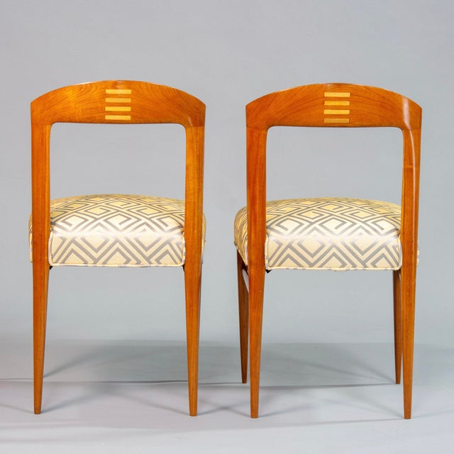 Set of Eight Art Deco Beech Chairs With New Upholstery For Sale In Detroit - Image 6 of 12