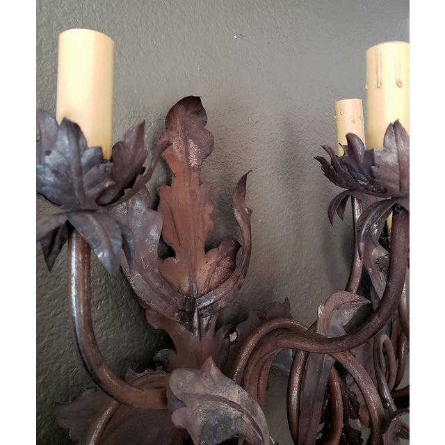 Metal Vintage 1960s French Large Floral Sconces - a Pair For Sale - Image 7 of 13