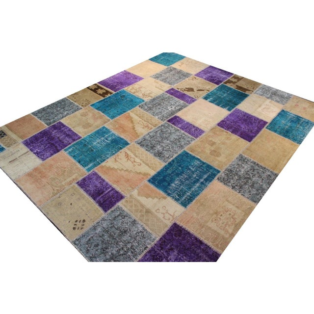 Turkish Patchwork Multicolored Rug - 8′ × 9′10″ - Image 6 of 7