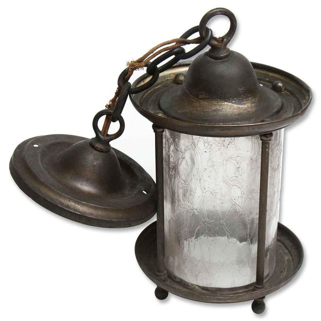 Gothic Brass Lantern With Textured Glass For Sale - Image 3 of 5