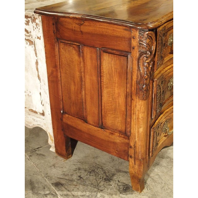 French Walnut Wood Commode From Lyon, Circa 1750 For Sale - Image 11 of 13